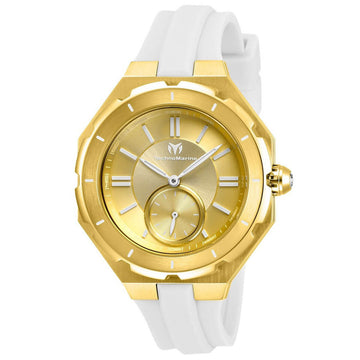 Technomarine Women's Quartz Watch - Cruise Sea Gold Tone Dial White Strap | TM-118005