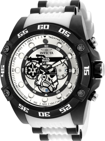 Invicta Men's Chronograph Watch - Star Wars Rotating Bezel White Silicone Strap | 26068