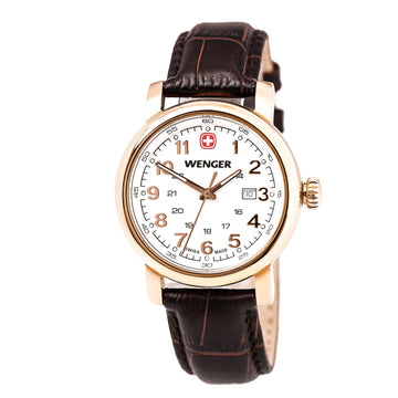 Wenger 01.1021.108 Women's Urban Classic Rose Gold Steel Brown Leather Strap White Dial Date Watch