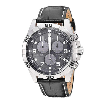 Citizen Men's Chronograph Watch - Brycen Black Dial Black Leather Strap | BL5551-14H