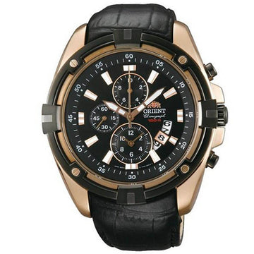 Orient Men's Chronograph Watch - Sporty Black Dial Leather Strap | FTT0Y004B