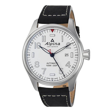 Alpina Men's Leather Strap Watch -  Startimer Pilot Automatic White Dial | AL-525S4S6