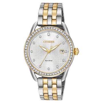 Citizen Women's Two Tone Steel Watch - LTR Eco-Drive Swarovski Crystal Silver Dial