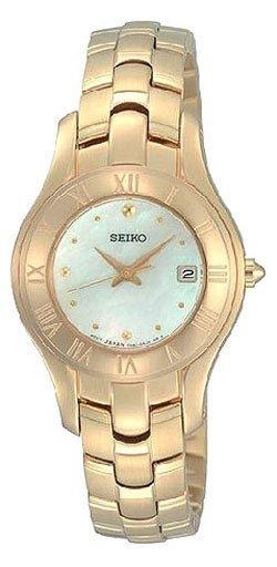 Seiko SXDB74 Women's Gold Tone White Mother of Pearl Watch