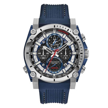 Bulova Men's Chronograph Watch - Precisionist Blue Polyurethane Strap Quartz | 98B315