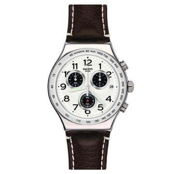 Swatch YVS432 Men's Archi-Mix Destination Hamburg Brown Leather Strap White Dial Chrono Date Watch