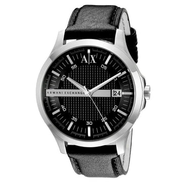 Armani Exchange AX2101 Men's Whitman Black Dial Black Leather Strap Watch