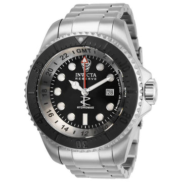 Invicta Men's GMT Watch - Reserve Hydromax Black Dial Stainless Steel Bracelet | 29734