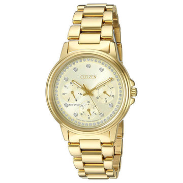 Citizen Women's Silhouette Crystal Watch - Yellow Gold Steel Bracelet Champagne Dial