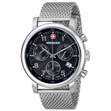 Wenger 01.1043.102 Men's Urban Classic Chronograph Steel Mesh Bracelet Black Dial Day Date Watch