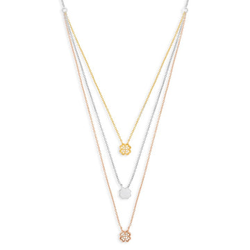 Sterling Silver Three-Strand CZ Clover Necklace