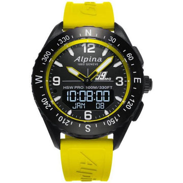 Alpina Men's Ana-Digi Watch - AlpinerX Black Dial Yellow Rubber Strap | AL-283MGY5AQ6