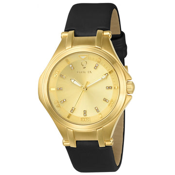 Invicta Women's Diamond Watch - Gabrielle Union Black Leather Strap Gold Dial | 23256