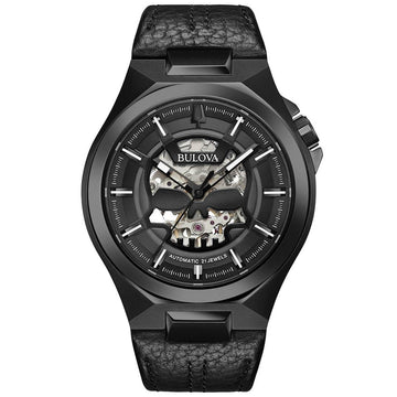 Bulova Men's Automatic Watch - Maquina Black Leather Strap | 98A238