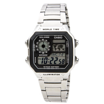 Casio AE1200WHD-1A Unisex Classic Casual Grey Digital Dial World Time Steel Watch