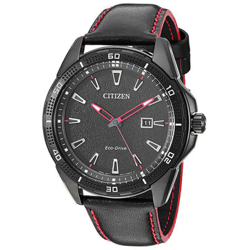 Citizen Men's Strap Watch - Action Required Black Leather Black Dial | AW1585-04E