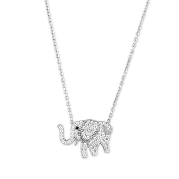 Sterling Silver CZ Elephant Necklace
