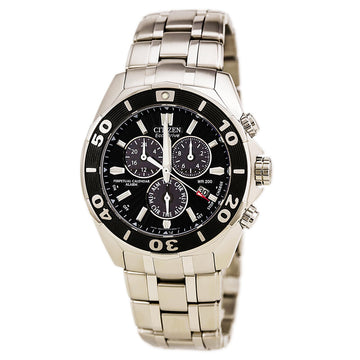 Citizen Men's Chronograph Watch - Signature Perpetual Calendar Dive Black Dial