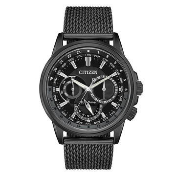 Citizen Men's Mesh Bracelet Watch - Calendrier World Time Black IP Steel | BU2025-76E