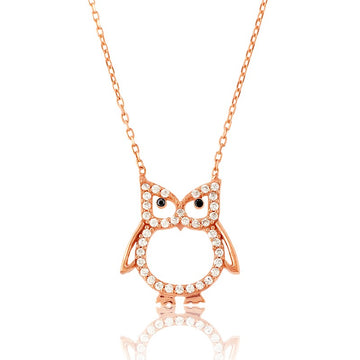 Sterling Silver Rose Gold CZ Open Owl Necklace