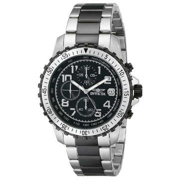 Invicta Men's Chronograph Watch - Specialty Two Tone Black Bracelet Black Dial | 6398