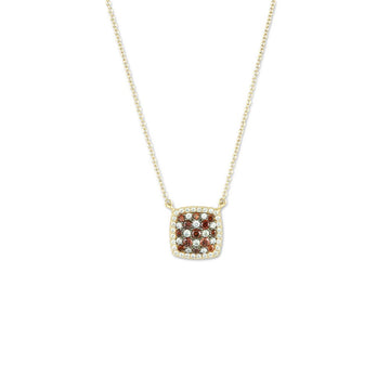Sterling Silver Gold Garnet CZ Micro Pave Necklace