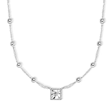 Sterling Silver By The Yard with Square CZ Necklace