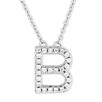 "Sterling Silver Micro Pave ""B"" Pendant Necklace"