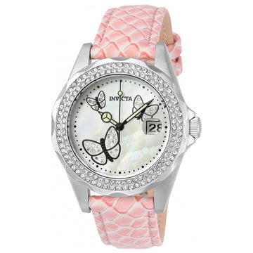 Invicta Women's Leather Strap Watch - Angel Crystal Mother of Pearl Dial Date | 23643