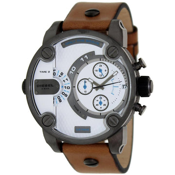 Diesel Men's Chronograph Watch - Little Daddy Beige Leather Strap | DZ7269