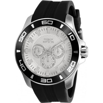 Invicta Men's Quartz Watch - Pro Diver Day-Date Silver Tone Dial Black Strap | 30950