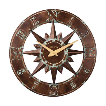 Bulova Indoor/Outdoor Nor'Easter Bronze Metal Case Wall Clock | C4873