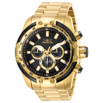 Invicta Men's Chronograph Watch - Speedway Black Dial Yellow Gold Bracelet | 28658