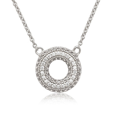 Sterling Silver Small Open Micro Pave CZ Circle Necklace