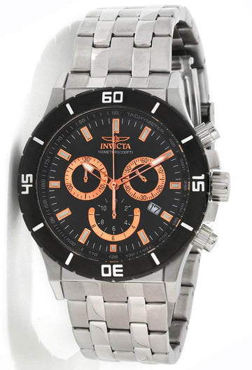 Invicta 0389 Men's Swiss Made SS Chronograph Black Dial Watch