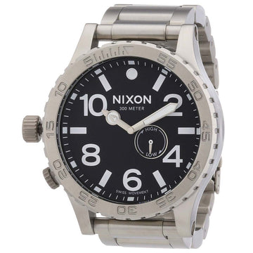 Nixon A057000 Men's 51-30 Tide Lefty Black Dial Steel Bracelet Dive Watch