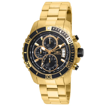 Invicta 22414 Men's Pro Diver Chronograph Black Dial Yellow Gold Steel Bracelet Watch