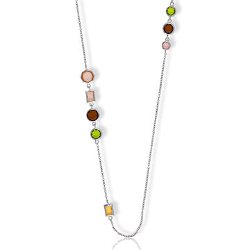 Sterling Silver Multi-Shaped CZ Necklace