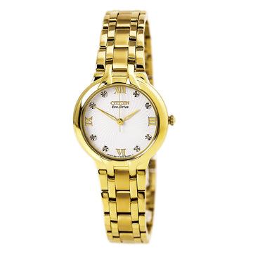 Citizen Women's Diamond Watch - Bella Eco Drive Yellow Gold Steel White Dial