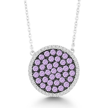 Sterling Silver Purple and Black CZ Round Necklace