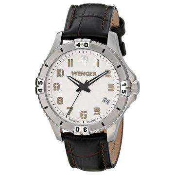 Wenger 01.0121.106 Women's Squadron Black Leather Strap Swiss Quartz