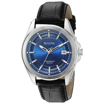 Bulova 96B257 Men's Precisionist Blue Dial Black Leather Strap Watch