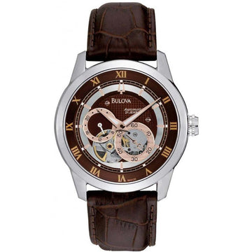 Bulova 96A120 Men's Dual Aperture Dial Automatic Brown Leather Strap Watch