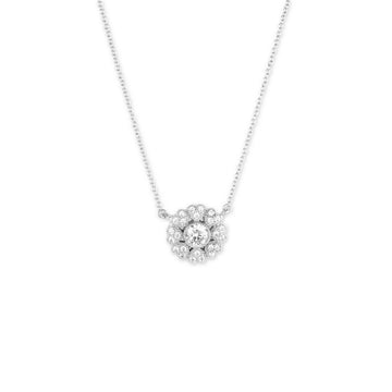 Sterling Silver Micro Pave Heart Flower Necklace