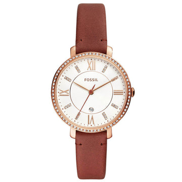 Fossil Women's Quartz Watch - Jacqueline White Dial Brown Leather Strap | ES4413