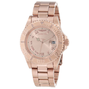 Invicta 12821 Womens Pro Diver Rose Gold Dial Rose Gold Steel Diamond Accented Dive Watch