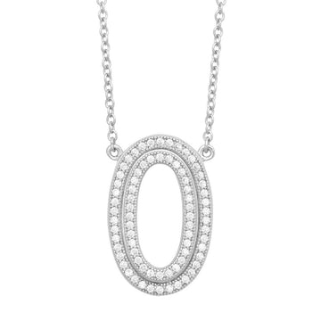 Sterling Silver Open Micro Pave Oval Necklace