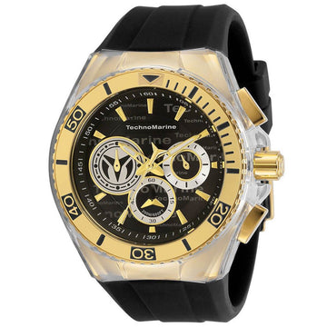 Technomarine Men's Chrono Watch - Cruise Yellow Gold Case Black Strap | TM-118123