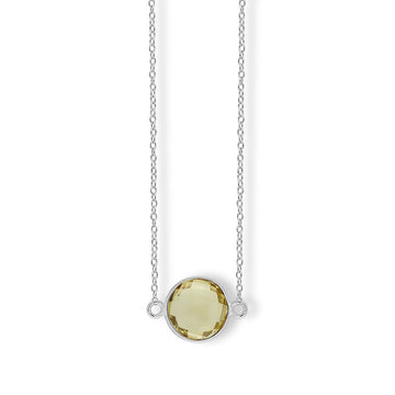 Sterling Silver Lemon Quartz Gemstone Necklace