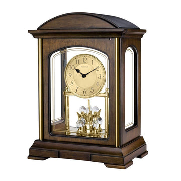 Bulova Strike & Chime Mantel Clock - Westport Rotating Pendulum Chiming | B1846